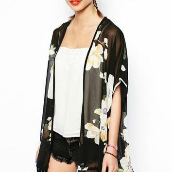 Black Floral Printed Fringed Lace Kimono