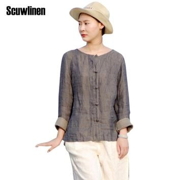 SCUWLINEN Women Tops 2017 Vestidos Vintage O-neck Solid Handmade Plate Buttons Long-sleeve Linen Shirt  Women Casual Blusas S253