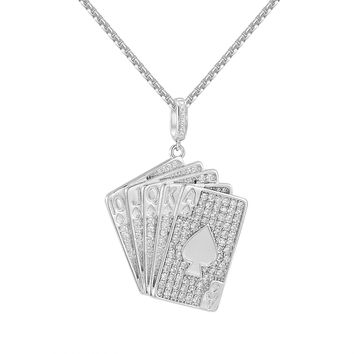 "Hip Hop Sterling Silver Playing Cards Fully Iced Out Pendant with 24"" Multiple Chains option Set"
