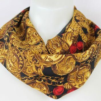 DCCKWA2 Chanel 100% Silk Black Yellow & Red Coin Motif Scarf Made in Paris