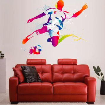 cik120 Full Color Wall decal soccer football ball sport spray paint room Bedroom sports hall