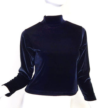 Vintage 90s Black Velvet Mock Turtleneck Crop Top - Medium - Women's Lands End Minimalist Stretch Velour Long Sleeve Cropped Tee Shirt