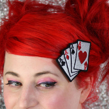 Playing Cards Hair Clip Aces Rockabilly Hair Clip by JanineBasil