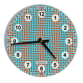 """Swimming Fish Optical Illusion 8"""" Round Wall Clock with Numbers All Over Print"""