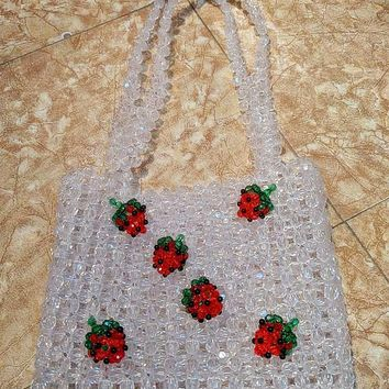 Crystal Bead Strawberry Handbag