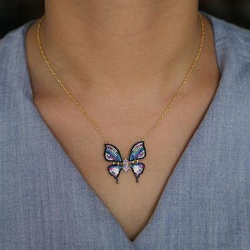 Pendant Necklace Fashion Jewelry Colorful Gorgeous luxury lovely animal Butterfly Necklaces & Pendants For Women Friends