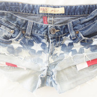 Denim Hombre American Flag stars and strie pocket shorts Low rise