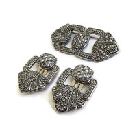 Art Deco Style Faux Marcasites & Rhinestones Buckle Brooch and Earrings Set Vintage