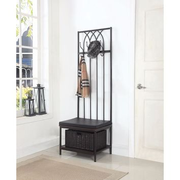 Transitional Metal Hall Tree with Storage Bench, Black