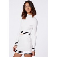 Missguided - Remilia Knitted Roll Neck Stripe Crop Top White