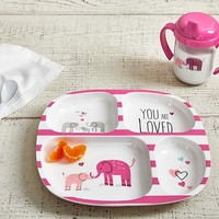 "Pink ""You are Loved"" Feeding Plate & Sippy Cup"