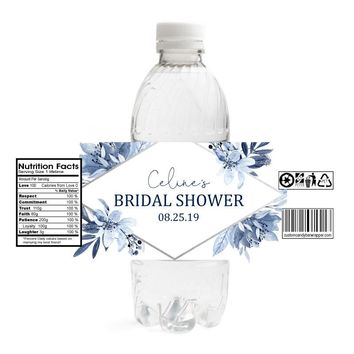 Navy Bridal Shower Water Bottle Labels