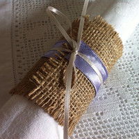 Wedding napkin wrap Lilac cream burlap and satin wedding serviette ring