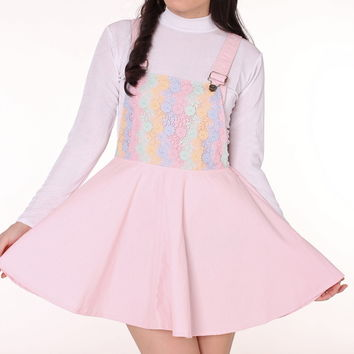 Glitters For Dinner — Secret Garden Pinafore In Pink Pastel