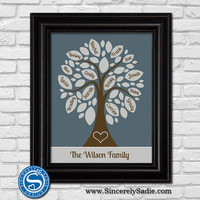 Family Tree Print with Names on Leaves - 16x20 - Valentine Gift, Housewarming Gift, Anniversary Gift, Gift for Wife