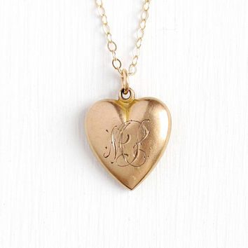Vintage Heart Charm - Initial MP Edwardian Era Puffy Pendant 10k Rosy Yellow Gold Filled Necklace - Dainty Romantic Love Monogrammed Jewelry