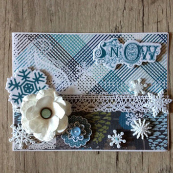 Christmas card - crafted scrapbooking OOAK 3D greeting card - white blue rustic - new year christmas winter snowflake-europeanstreetteam