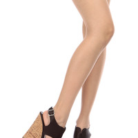 Black Faux Leather Cut Out Sling Back Cork Wedges