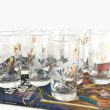 "Mid Century Glasses with Horses, Glass Tumblers Horses, Vintage Horse Tumblers, Libbey Drinking Glasses, Libbey ""Prancing Colts"" Glasses"