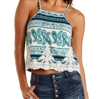 Ivory Combo Embroidered Paisley Print Tank Top by Charlotte Russe