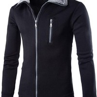 jeansian Men's Casual Zipper SweatShirt Jacket Coat 9360