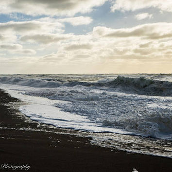Beach Storm Waves Wall Art Print -- Fine Art landscape photography, Ocean, California, Home Decor, HeatherRobersonPhoto