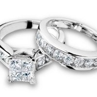 Princess Cut Diamond Engagement Ring and Wedding Band Set 1 Carat (ctw) in 10K White Gold, Size 6.5