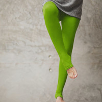 Green - Leg warmer winter leggings