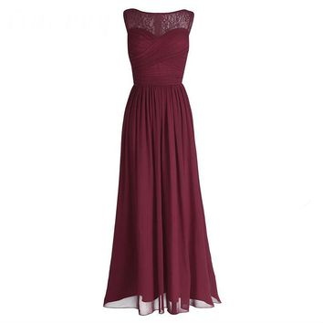 Women Ladies Chiffon Empire Lace Bridesmaid Dress Prom Gown Sleeveless A-Line Pleated Padded Long Wedding Party Dresses