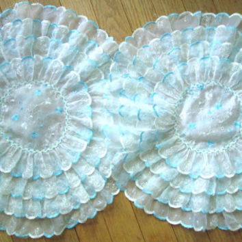 Round Doilies vintage 60s embroidered ruffles white sheer lace turquoise blue pair set of 2 Mad Men decor Betty Draper bedroom