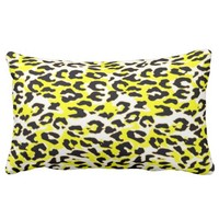 White Black Yellow Decor Animal Print Pillow