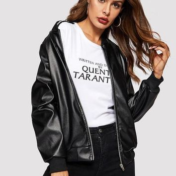 Leatherette Bomber Jacket