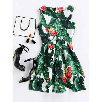 Palm Leaf Print Embossed Fit & Flare Dress Green