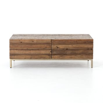 Timbu Reclaimed Coffee Table with Brass Legs
