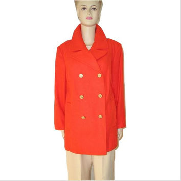 Vintage Classic ORANGE Wool Cashmere Peacoat Jacket L/XL Plus Size - Immaculate Condition