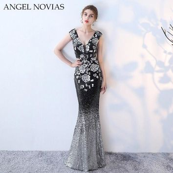 Angel Novias Long Sexy Black Mermaid Evening Dresses 2018 Long Ombre Sequin Party Prom Gowns Robe De Soiree