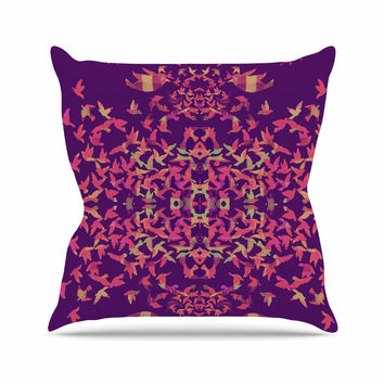 "Marianna Tankelevich ""Flying Birds Sunset"" Purple Abstract Outdoor Throw Pillow"
