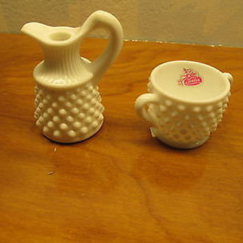 VINTAGE WESTMORELAND VINEGAR CRUET AND SUGAR BOWL