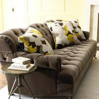 "Haute House - ""Berlin"" Velvet Sofa & ""Floral Mod"" Pillow - Horchow"