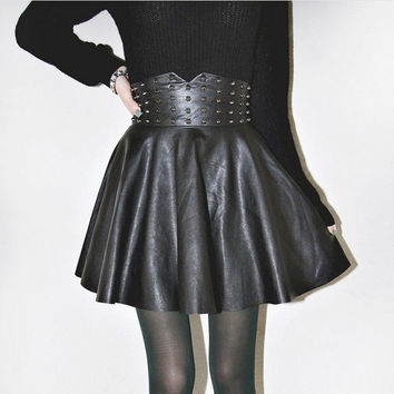 Autumn Winter Women's Fashion Punk High Waist Rivet Synthetic Leather Skirt Dress D_L (Color: Black) = 1708649412