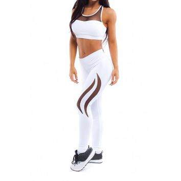Women's High-Waist White Sports Leggings