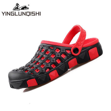 New Hole Clogs Slippers Couple Sandals Mules Garden Shoes for Men&Women Breathable Beach Shoes Clogs Sandals Slides Black Red