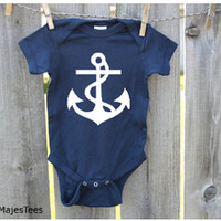 Nautical Baby Bodysuit, Nautical Baby Shower, Anchor