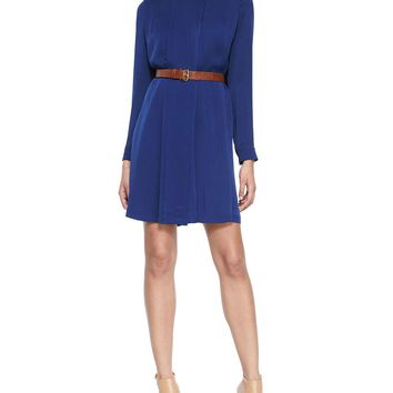 Women's Pleated Silk Shirtdress W/ Belt - MICHAEL Michael Kors - Navy