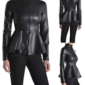 Pu Faux Leather Long Sleeve Zip Front Peplum Jacket Black (Small/Indie Brands)