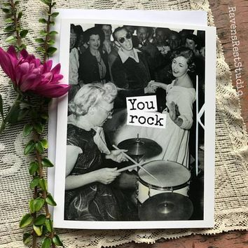 You Rock Funny Vintage Style Mothers Day Card Card For Her FREE SHIPPING
