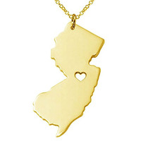 Fashion Jewelry Stainless Steel Gold New Jersey State Map With Heart Necklace for Women + Gift Bag
