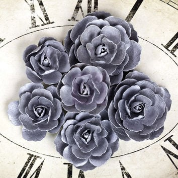 Prima Paper Flowers Sunrise Sunset Collection Item 565190 Pretty Silver Grey Gray Embellishment for scrapbooking, millinery, home decor