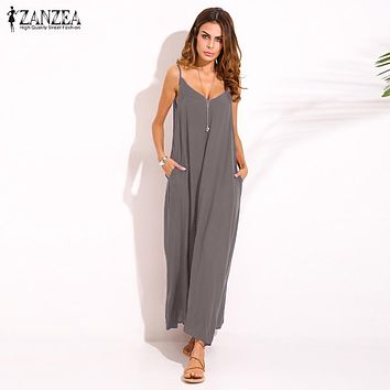 Zanzea 2018 Summer Style Women Boho Strapless Sexy V Neck Sleeveless Dress Casual Loose Long Maxi Solid Dress Vestidos Plus Size