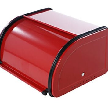 Roll Top Bread Box For Kitchen - Cherry Red